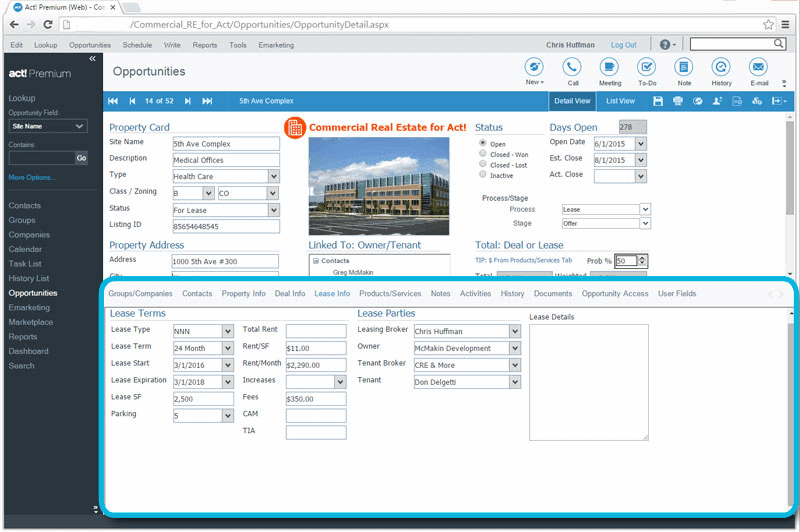 CRM for Commercial Real Estate Property Lease Tracking