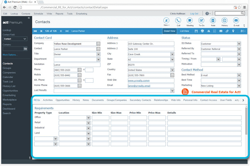 CRM for Commercial Real Estate Track Property Requirements