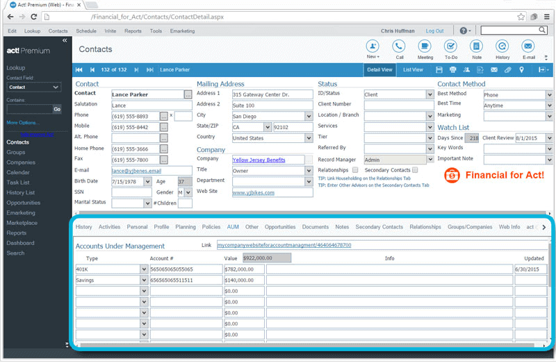 CRM for Financial Advisors Client AUM Tracking