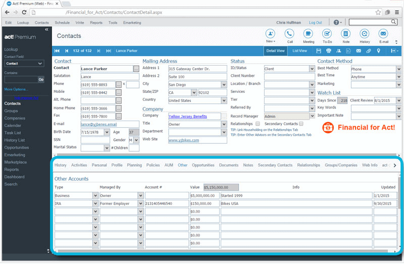 CRM for Financial Advisors Other Accounts Tracking