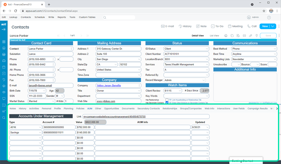 Financial CRM AUMs Accounts Under Management Tracking