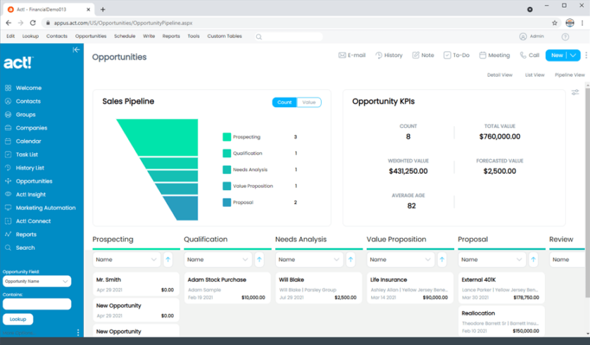 Financial CRM Account Opportunities Pipeline