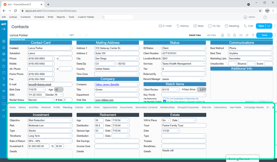 Financial CRM Client Financial Planning Tracking