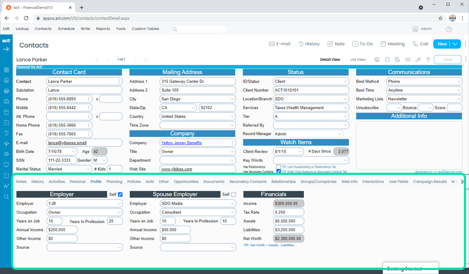 Financial CRM Client Financial and Employment Profile