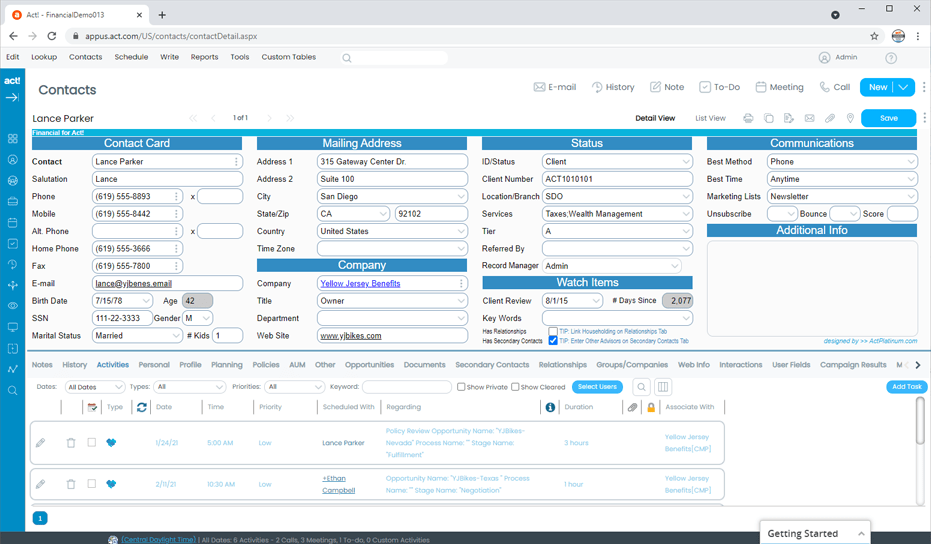 Financial CRM with Client and Contact Tracking
