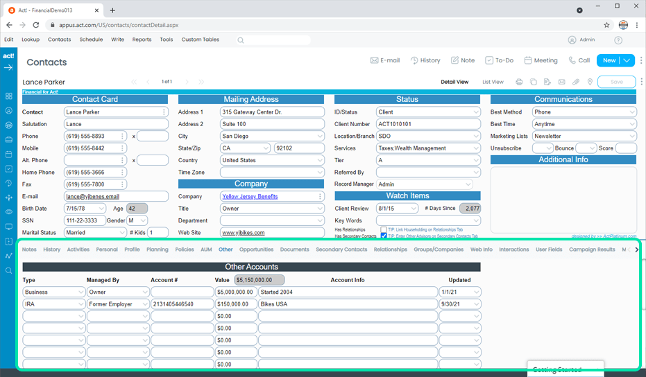 Financial CRM Other Accounts and Assets Tracking