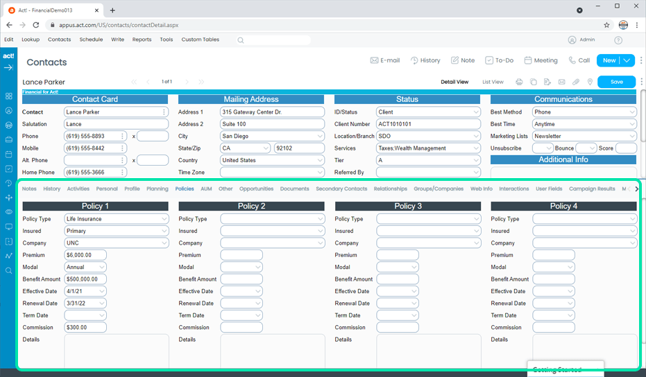 Financial CRM Tracks Client Policies