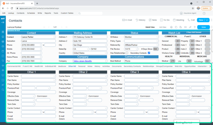 Insurance CRM Additional Policies and Plans Tracking