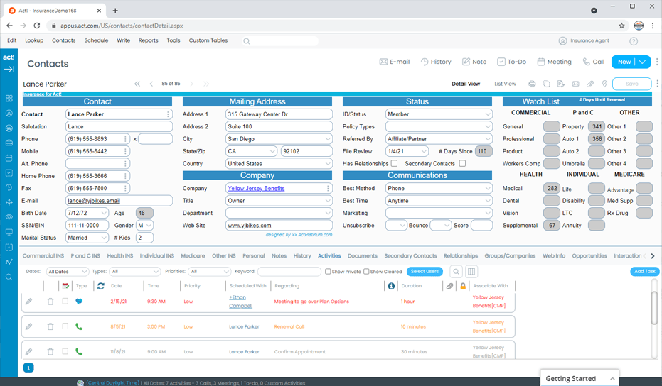 Insurance CRM Client and Contact Tracking