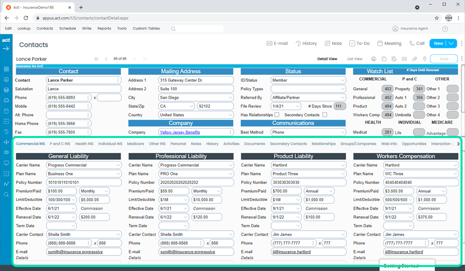 Insurance CRM Commercial Policies Tracking
