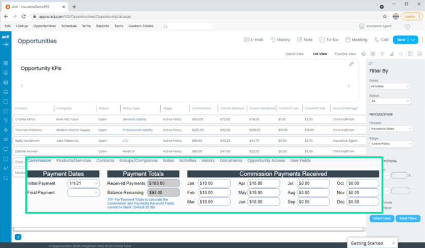 Insurance CRM Commission Tracking Features