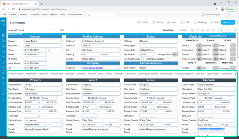 Insurance CRM Property and Casualty Policies Tracking