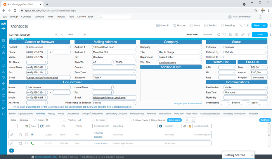 Mortgage CRM Track Borrowers and Contacts
