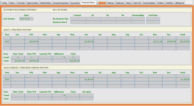 QuickBooks Financial History in Act Premium